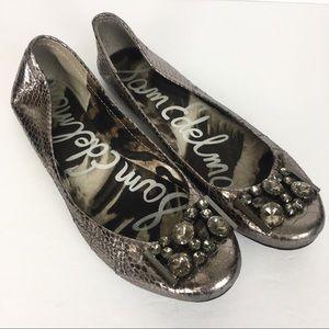Sam Edelman Caper Metallic Silver Ballet Flats 9M